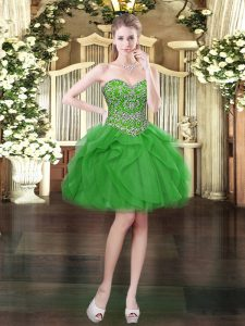 Cheap Tulle Sweetheart Sleeveless Lace Up Beading and Ruffles Dress for Prom in Green
