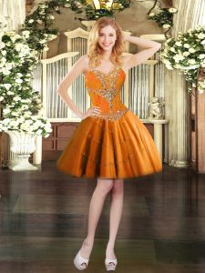Pretty Orange Tulle Lace Up Sweetheart Sleeveless Mini Length Beading