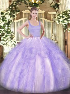 Exceptional Lavender Sleeveless Beading and Ruffles Floor Length Quinceanera Dresses