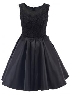 Luxurious Black Scoop Neckline Lace Bridesmaid Dresses Sleeveless Zipper
