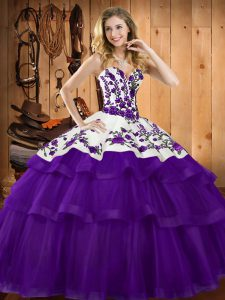 Cute Sleeveless Organza Sweep Train Lace Up Quinceanera Gowns in Purple with Embroidery
