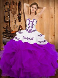 Floor Length Ball Gowns Sleeveless Purple Quince Ball Gowns Lace Up