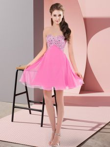 Extravagant Sleeveless Mini Length Beading Lace Up Dress for Prom with Rose Pink