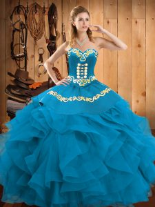 Teal Satin and Organza Lace Up Sweetheart Sleeveless Floor Length Quinceanera Gown Embroidery and Ruffles