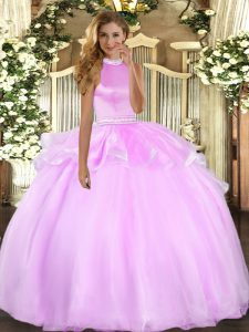 On Sale Halter Top Sleeveless Sweet 16 Dresses Floor Length Beading and Ruffles Lilac Tulle