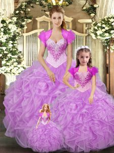 Comfortable Baby Pink Tulle Lace Up Straps Sleeveless Floor Length Ball Gown Prom Dress Beading and Ruffles