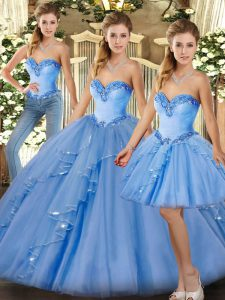 Luxury Beading and Ruffles Vestidos de Quinceanera Baby Blue Lace Up Sleeveless Floor Length