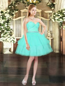 Exquisite Aqua Blue Sweetheart Neckline Beading and Lace and Ruffled Layers Evening Dress Sleeveless Lace Up