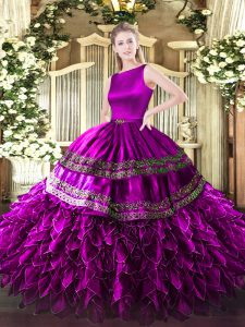 Scoop Sleeveless Clasp Handle Vestidos de Quinceanera Fuchsia Satin and Organza