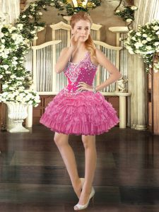 Exceptional Organza Straps Sleeveless Lace Up Beading and Ruffled Layers and Pick Ups in Rose Pink