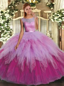 Best Multi-color Organza Backless Scoop Sleeveless Floor Length Quinceanera Gowns Beading and Ruffles