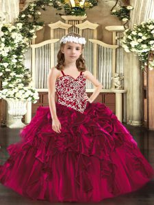 Sleeveless Floor Length Beading and Ruffles Lace Up Little Girls Pageant Gowns with Fuchsia