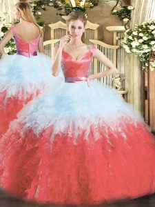 Floor Length Multi-color Vestidos de Quinceanera V-neck Sleeveless Zipper