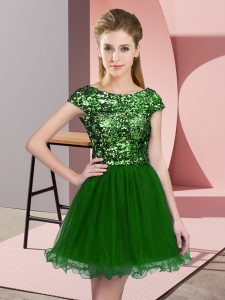New Arrival Green Cap Sleeves Mini Length Sequins Zipper Dama Dress