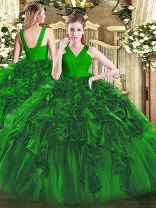 Low Price Floor Length Dark Green 15th Birthday Dress Organza Sleeveless Ruffles