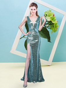 Wonderful Floor Length Aqua Blue Prom Evening Gown V-neck Sleeveless Zipper