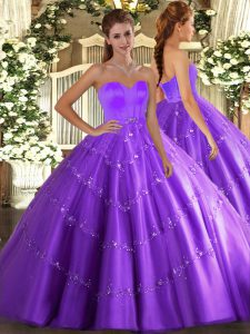 Eggplant Purple Quinceanera Gowns Military Ball and Sweet 16 and Quinceanera with Beading and Appliques Sweetheart Sleeveless Lace Up