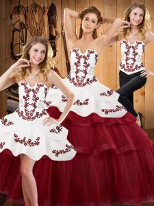 Trendy Sleeveless Tulle Sweep Train Lace Up 15th Birthday Dress in Burgundy with Embroidery and Ruffled Layers