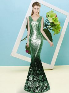 Floor Length Prom Party Dress Sequined Sleeveless Sequins