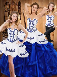 Fitting Three Pieces 15th Birthday Dress Blue Strapless Satin and Organza Sleeveless Floor Length Lace Up