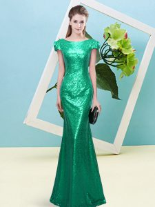 Low Price Floor Length Turquoise Sequined Cap Sleeves Sequins