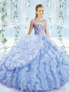 Sexy Blue Lace Up Sweetheart Beading and Ruffles and Pick Ups Sweet 16 Quinceanera Dress Organza Sleeveless Brush Train