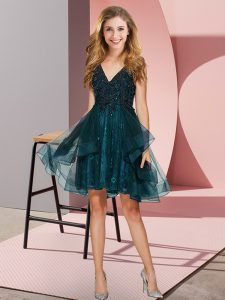 Teal V-neck Backless Appliques and Ruffles Wedding Party Dress Sleeveless