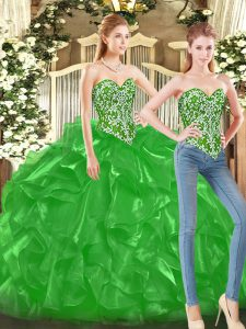 Elegant Green Sweetheart Neckline Beading and Ruffles Quinceanera Dress Sleeveless Lace Up
