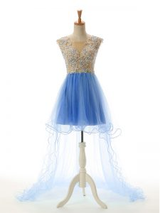Graceful Baby Blue Tulle Backless Prom Gown Sleeveless High Low Appliques