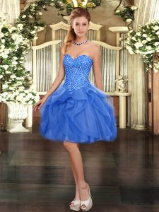 Sleeveless Tulle Mini Length Lace Up Prom Evening Gown in Blue with Beading and Ruffles