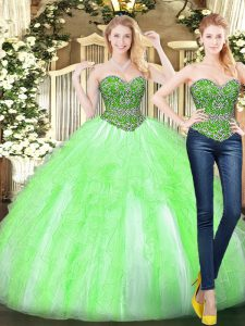 Floor Length Lace Up Quinceanera Gowns Yellow Green for Military Ball and Sweet 16 and Quinceanera with Beading and Ruffles