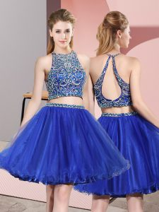 Mini Length Backless Quinceanera Court of Honor Dress Royal Blue for Prom and Party and Wedding Party with Beading