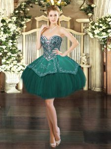 Dark Green Ball Gowns Sweetheart Sleeveless Satin and Tulle Mini Length Lace Up Beading and Embroidery Homecoming Dress