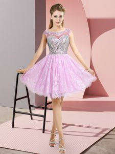 Scoop Cap Sleeves Lace Dress for Prom Beading Backless