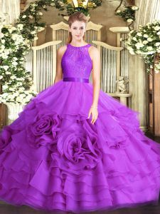 Gorgeous Eggplant Purple Sleeveless Lace Floor Length Quinceanera Gowns