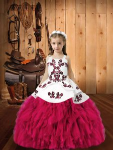 Wonderful Organza Sleeveless Floor Length Pageant Dress for Girls and Embroidery and Ruffles