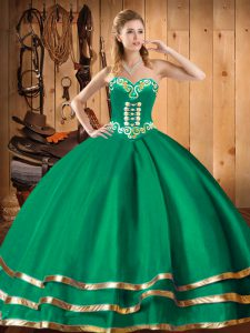 Embroidery Vestidos de Quinceanera Green Lace Up Sleeveless Floor Length