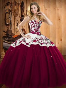 Trendy Sleeveless Lace Up Floor Length Embroidery 15th Birthday Dress