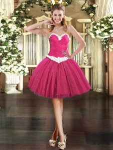 Sweet Fuchsia Sleeveless Appliques Mini Length Prom Dress