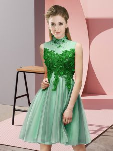High-neck Sleeveless Bridesmaid Dresses Knee Length Appliques Apple Green Tulle