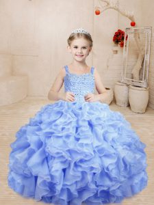 Sweet Floor Length Ball Gowns Sleeveless Lavender Pageant Gowns For Girls Lace Up