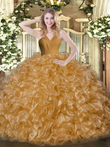Traditional Brown Organza Zipper Sweet 16 Dresses Sleeveless Floor Length Ruffles
