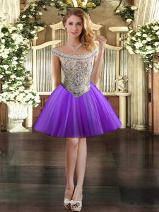 Dramatic Tulle Sleeveless Mini Length Prom Dress and Beading