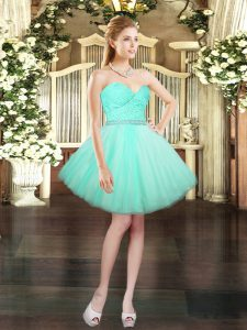 Eye-catching Mini Length Lace Up Prom Evening Gown Aqua Blue for Prom and Party with Beading and Lace