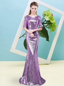 Floor Length Lavender Prom Evening Gown Scoop Half Sleeves Zipper