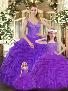 Fantastic Organza Straps Sleeveless Lace Up Beading and Ruffles Quinceanera Gowns in Purple