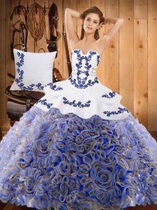 Fine Sleeveless Satin and Fabric With Rolling Flowers With Train Sweep Train Lace Up 15 Quinceanera Dress in Multi-color with Embroidery