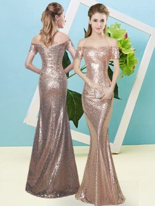 Adorable Floor Length Zipper Prom Dress Gold for Prom and Party with Sequins