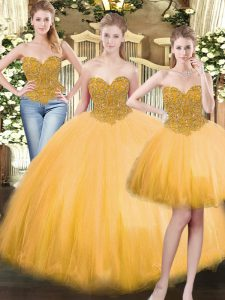 Glittering Gold Sleeveless Beading Floor Length Sweet 16 Dress