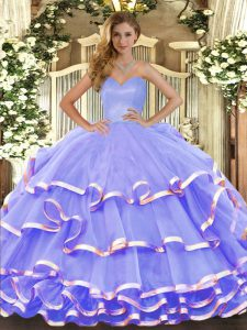 Lavender Lace Up Sweetheart Ruffled Layers 15 Quinceanera Dress Organza Sleeveless